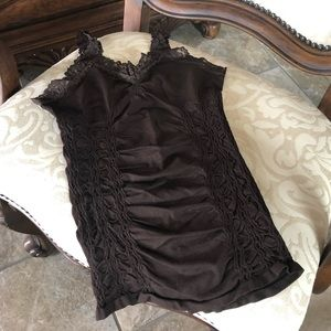 Knit Lace Stretch Camisole/Tank Brown O/S